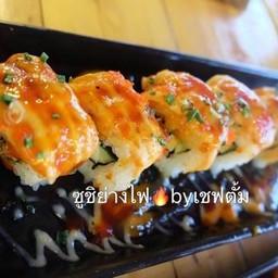 เหินฟ้าอินดี้ ชูชิย่างไฟ By Chef Tum ตลาดปากทางหน้าหมู่บ้านเศรษฐกิจ เพชรเกษม102