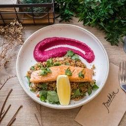 Pan - fried Salmon with Quinoa Salad