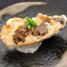 B2 หอยนางรมพันเนื้อคามุยและกราแตงครีมเมนไตโกะ (ร้าน - KAMUI HOKKAIDO DINING)