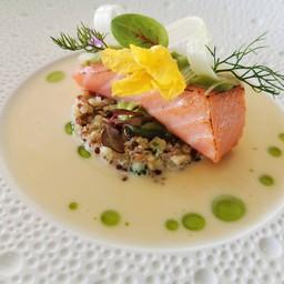 wild salmon, Rhubarb, Smoked Avocado and CHIGNIN Beurre Blanc