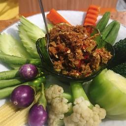 น้ำพริกแมงดา ชุดผักลวก