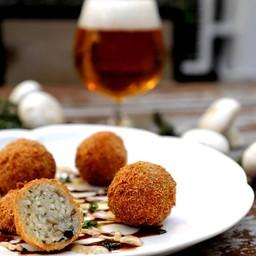 Deep Fried Mushroom Risotto Balls with Balsamic Aioli