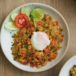 Diced Salmon Fried Quinoa Topping with onsen egg