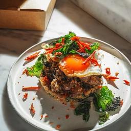 Ohira wagyu, quinoa, stir-fried, holy basil,oyster sauce, fried duck egg