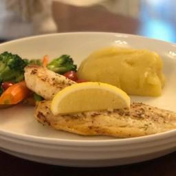 สเต็กปลาแฮดด็อค ซอสเลมอนกระเทียม