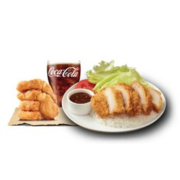 Crispy Chicken with Rice & spicy (Jaew) Sauce + Coke + 6 Nuggets