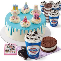 Set A : ไอศกรีมเค้ก + โอริโอ บลิซซาร์ด® ขนาด M+ ดีคิว แซนด์วิช + เทียน