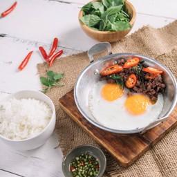 Beef Gaprao Pan Fried Eggs
