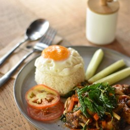 Sea Bass Gaprao with Rice