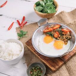 Chicken Gaprao Pan Fried Eggs