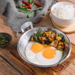 Nimitz Chicken Gaprao Pan Fried Eggs