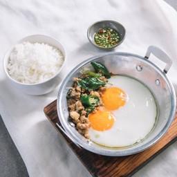Pork Gaprao Pan Fried Eggs