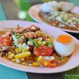 ตำข้าวโพดไข่ต้มลาวา (จาน)