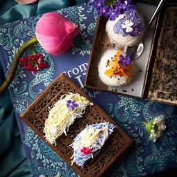 ขนมถั่วแปบเค็ม-หวาน  กับไอศรีมกะทิสด