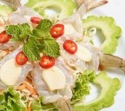 กุ้งแช่น้ำปลา Shrimp Sashimi with Lemon, Garlic & Chilli Peppers