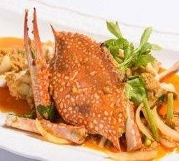 ปูม้าผัดผงกระหรี่ Blue Crab stir fry Curry Powder Sauce