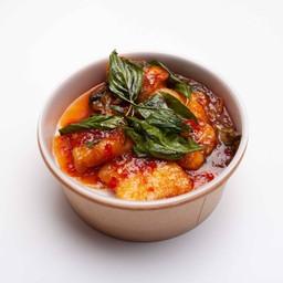 เนื้อปลากะพงราดพริกราดข้าว
