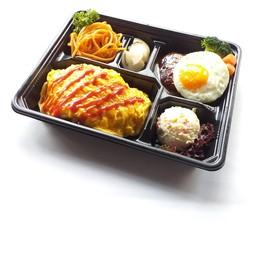 Omu-rice & hamburger steak