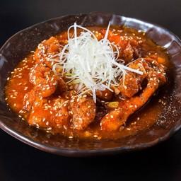 [Torimomo-no-Ebi-chilli-fu] Fried chicken with chili sauce