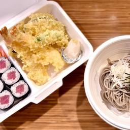 โซบะเย็น+เท็มปุระรวม+ข้าวห่อสาหร่ายแซลมอน