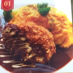 Omu-rice Minced Beef and Pork in Brown Sauce
