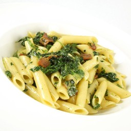 Penne carbonara and spinach