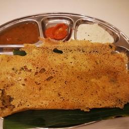 Ghee Rava Dosa with Coconut Chutney and Sambhar