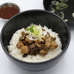 ข้าวต้มไก่สูตรป้าหมา Rice Porridge with Stir-Fried Chicken in Sauce