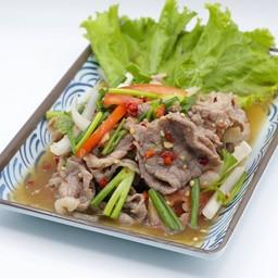 ยำเนื้อโคขุน (เนื้อนุ่ม, เนื้อสไลด์) Spicy Mixed Beef Salad (tendered beef, sliced brisket)