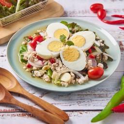 ยำไข่ต้มไก่สับ Boiled Egg & Minced Chicken Spicy Salad