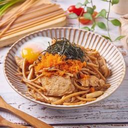 สปาเกตตี้โฮลวีท ผัดไข่กุ้ง สาหร่าย ไข่ลวก สไตล์ญี่ปุ่น Japanese style pasta with ebiko & seaweed