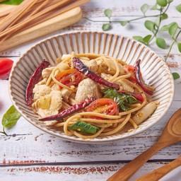สปาเกตตี้โฮลวีตผัดพริกกระเทียมแห้ง Whole Wheat Spaghetti with Garlic & Dried Chilli