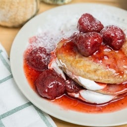 Gluten-free Vegan Pancakes with Maple Strawberry and Cream