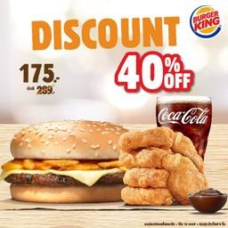 ลด 40% Mushroom + 6 Nuggets + Coke 16 oz. เหลือ 175 บาท ปกติ 289 บาท