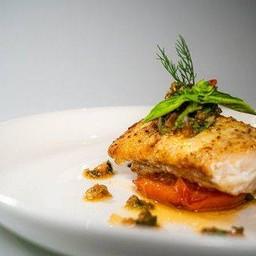 Sea bass fish steak