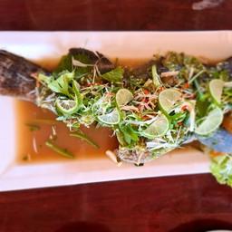 ปลาเก๋านึ่งมะนาว