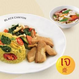 ข้าวผัดเขียวหวานไก่เจ + ต้มแซ่บเห็ดชิเมจิ