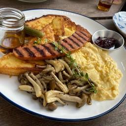 Sausage, Mushroom, Egg French Toast