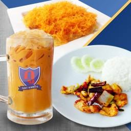เซตข้าวราดไก่ผัดเม็ดมะม่วงหิมพานต์+โรตีฝอยทอง+ชาชัก(L)