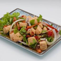 ยำปลาแซลมอนลวกหั่นเต๋า Spicy Blanched Cubic Salmon Salad