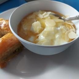 homemade Greek yogurt and baklava