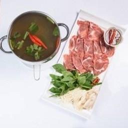 ต้มยำชาบูรัญจวน หมู หรือเนื้อ Hot Pot Tom Yum Soup with Pork