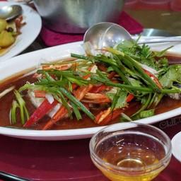 เนื้อปลากระพงนึ่งซีอิ๊ว