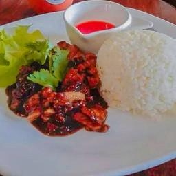 ข้าวหมูพริกไทยดำ