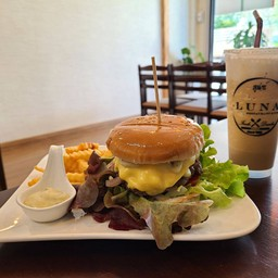 Beef Burger + Cheese, Iced Cappuccino