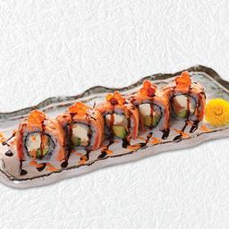 ข้าวห่อปลาแซลมอนเบิร์นไฟโรยไข่ปลาแซลมอน