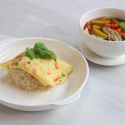 ชุดข้าวไข่เจียวผัก + แกงเลียง