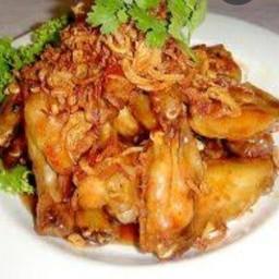 ไก่กรอบซอสมะขามราดข้าว