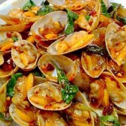 หอยลายผัดพริกเผาราดข้าว