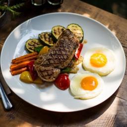 สเต็กเนื้อและไข่
